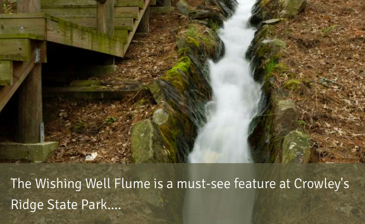 The Wishing Well Flume is a must-see  feature at Crowley's  Ridge State Park